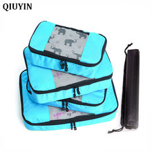 4 Pcs/set Nylon Packing Cubes Set Travel Bag Organizer Large Capacity Travel Bags Hand Luggage Clothing Sorting Bolsa De Viaje все цены