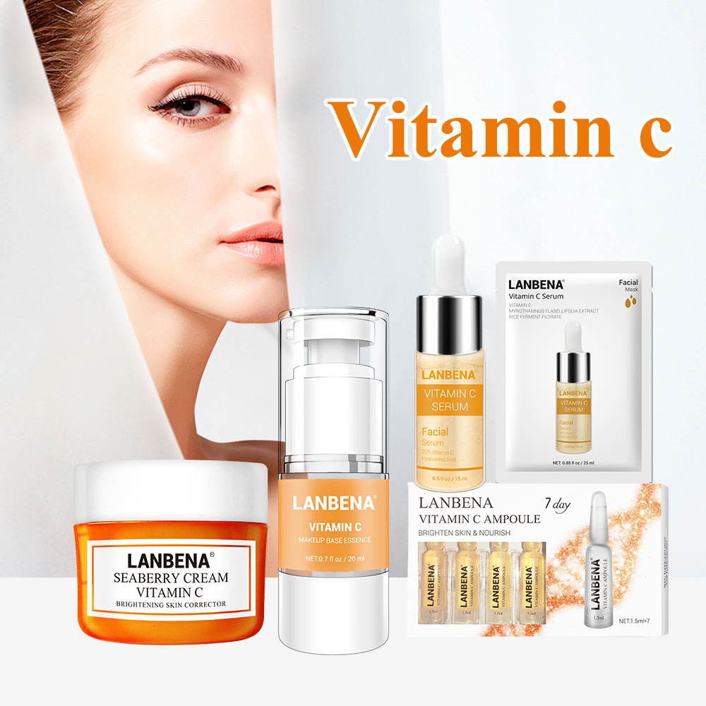 LANBENA Skin Care Face Mask  Vitamina C Whitening Cream Face Makeup Primer Face Serum Face Cream Facial Masks Vitamin C Serum