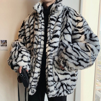 Winter Männer Faux Pelz Tiger Muster Mantel Jacke Männlichen Mode Lose Warme Mantel Männlichen Streetwear Verdicken Outwear Oversize