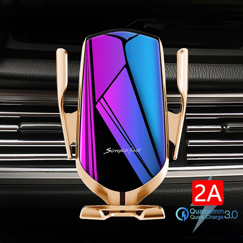 KISSCASS Automatic Clamping Car Wireless Charger for iPhone XS 11 Pro Samsung Xiaomi Infrared Sensor Car Phone Holder Charger