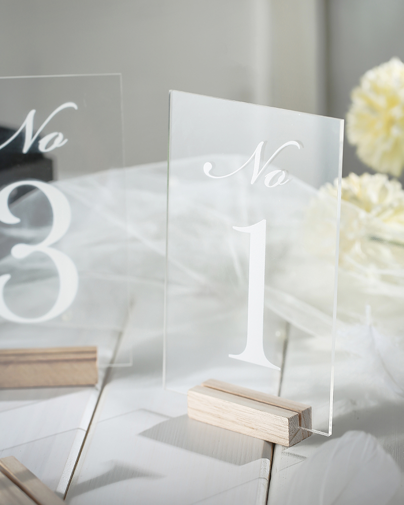 Personalized Clear Wedding Table Numbers With Wood Holder, Event Shower Acrylic Number Sign, Modern Wedding Table Number Set