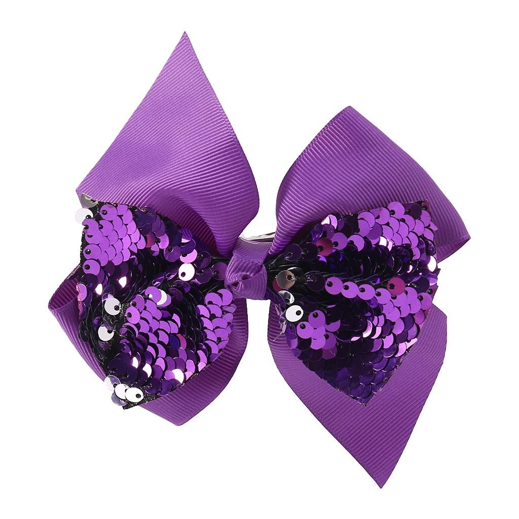Заколка для волос для малышей, девочек, бант, Блестящие Блестки, милые аксессуары для принцессы, детские шпильки D08C - Цвет: Фиолетовый