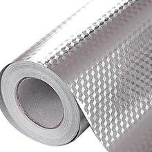 5 м 3D кубическая сетка алюминиевая маслостойкая наклейка для кухни с линиями апельсиновой корки фольга для печного шкафа водостойкая клейкая Серебряная виниловая настенная пленка