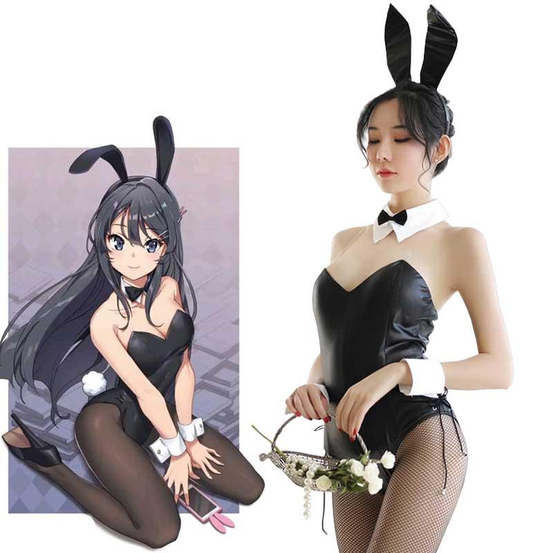 Seishun Buta Yarou wa Bunny Mädchen Senpai keine Yume wo Minai Cosplay Halloween Kostüm für Mädchen Sexy Cute Bunny Faux leder Kaninchen