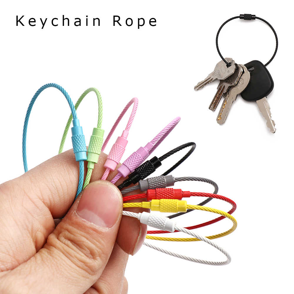 10PC School Stationery Office Supplies Key Stainless Steel Wire Keychain Cable Key Ring for Outdoor Hiking Tool New Desk Sets