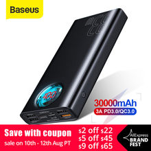 Baseus 30000mAh Power Bank Quick Charge 3,0 USB PD Schnelle Aufladen Power Tragbare Externe Batterie Pack Für Smartphone Laptop(China)