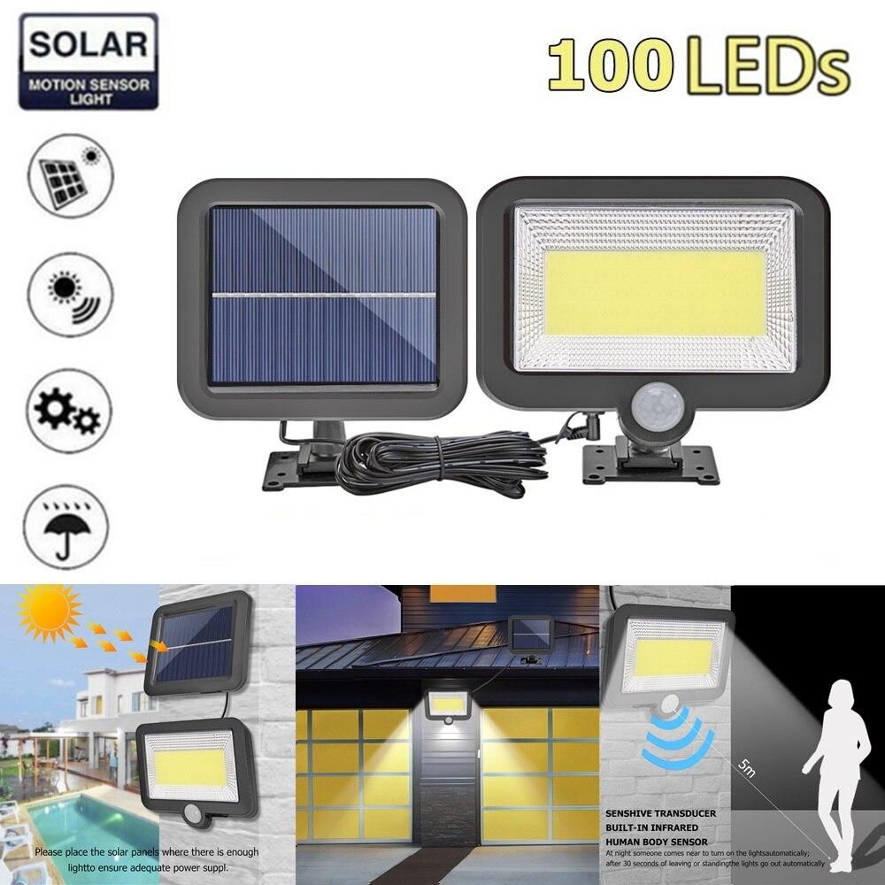 Cob 56/100/120LED Solar Light Outdoors Solar Tuin Licht Pir Motion Sensor Split Solar Wandlamp Schijnwerpers security Emergency