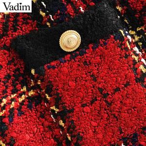 Image 3 - Vadim ผู้หญิง Tweed สง่างาม Patchwork ลายสก๊อตกระโปรงมินิกระเป๋าซิปด้านหลังตกแต่งสำนักงานสวมใส่หญิงสไตล์กระโปรง BA860
