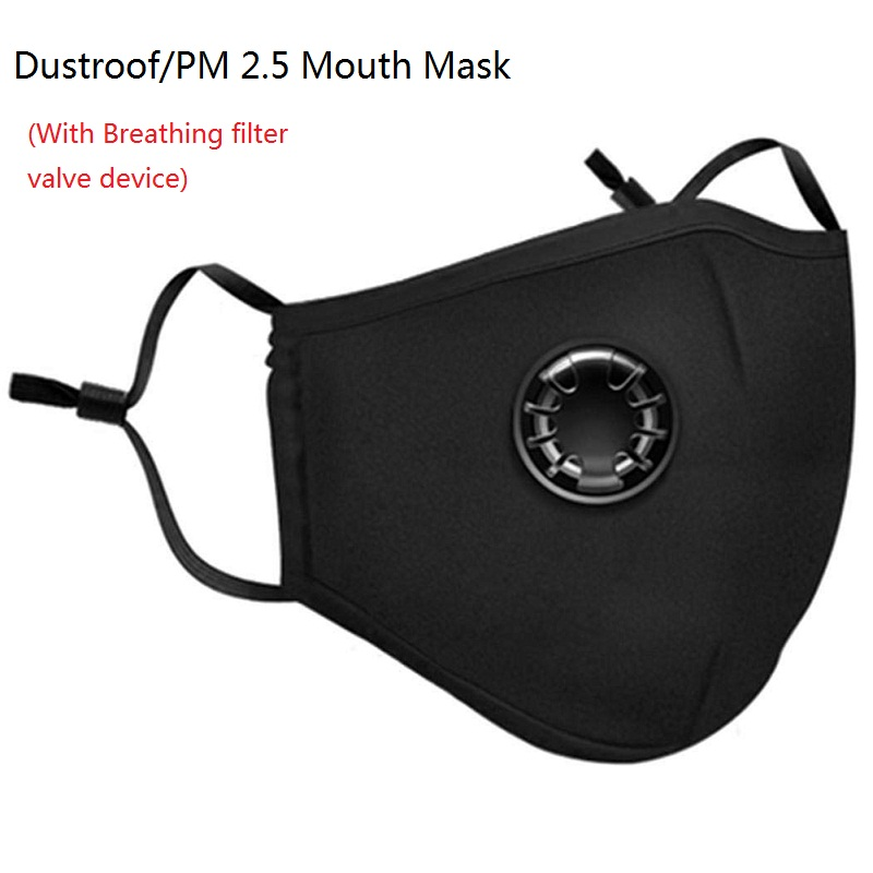 Reusable Mouth Mask Respirator Dustproof Anti-fog Haze PM 2.5 Activated Carbon Mask Cover With Breathing Filter Valve For Unisex