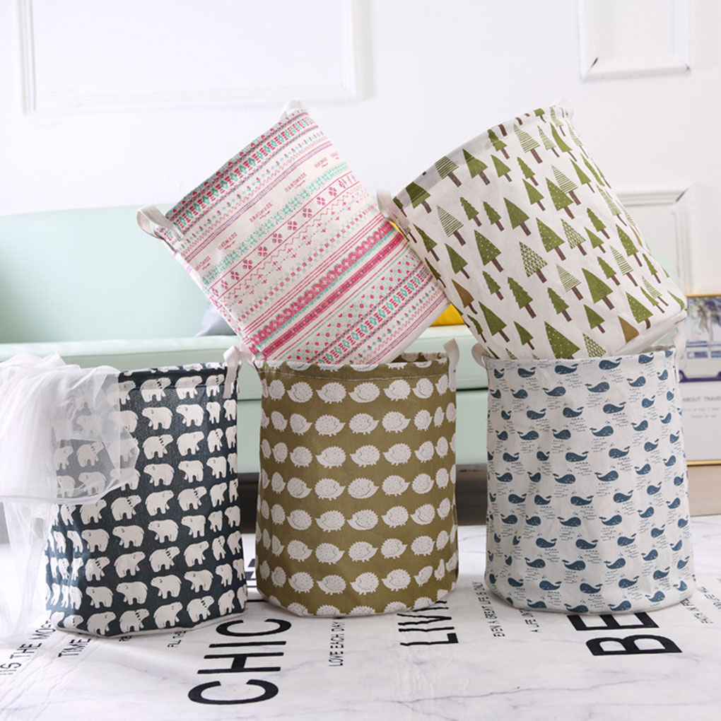 1pc Folding Basket Round Storage Bin Large Hamper Collapsible Clothes Toy Holder Organizer
