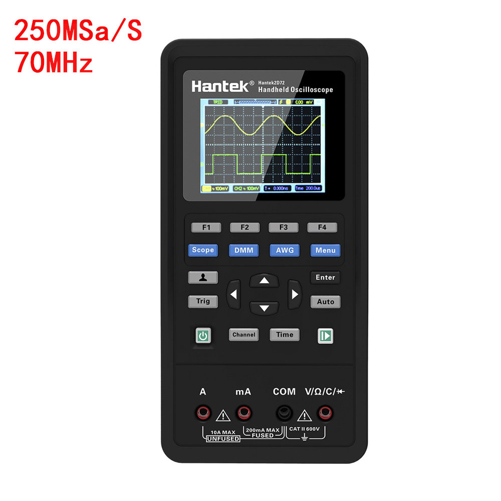 Hantek Hantek2D72 3in1 Digital Handheld Oscilloscope+Waveform Generator+Multimeter 2 Channels LCD Display Test Meter Tools