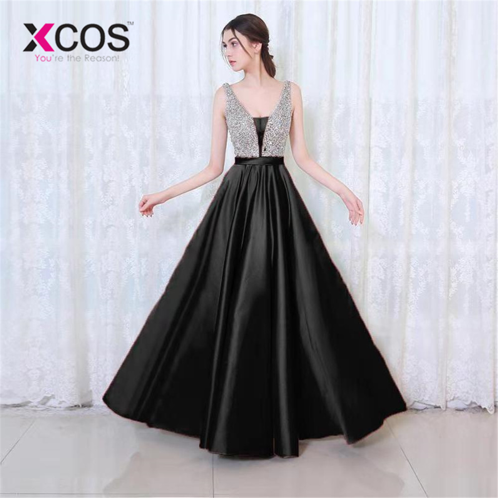 XCOS  2019 Hot Sale  A Line Evening Dress Sexy V-neck Sequin Formal Party Dresses  Floor Length Party Gown Evening Gowns