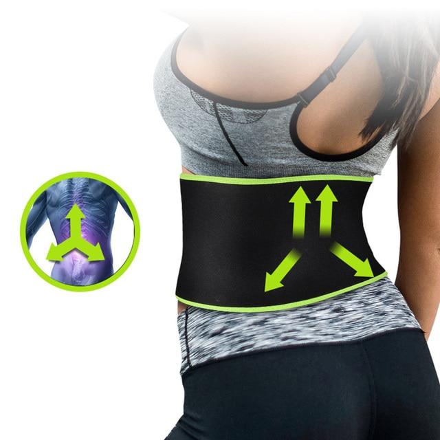 Women Men Sweat Wrap Waist Trimmer Neoprene Protective Weight Loss With Pocket Black Workout Exercise Belt Adjustable Flexible 1