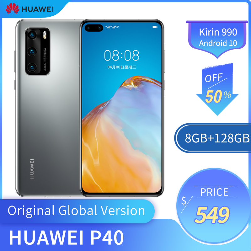 Originele Huawei P40 5G Mobiele Telefoon 6.1 Inch Oled-scherm 422PPI 8Gb + 128Gb Rom Smart Phone 50MP 3800Mah Kirin 990 Android 10