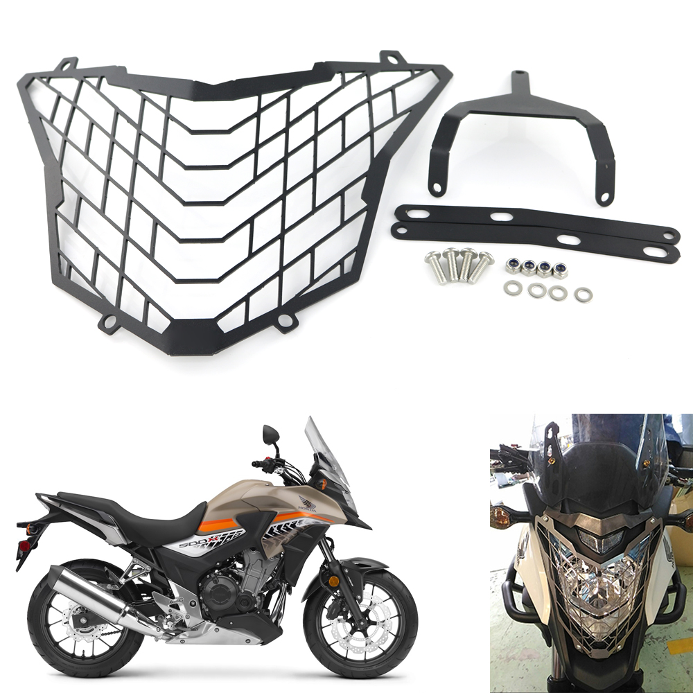 Motorcycle Headlight Guard for HONDA <font><b>CB500X</b></font> 2016 2017 <font><b>2018</b></font> Front Headlight Headlamp Grille Guard Cover Protector Aluminum Black image