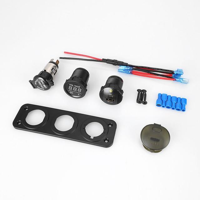 Chargeur de voiture usb charge rapide PD & QC3.0 led voltmètre allume-cigare 12v/120w étanche adaptateur secteur accessoires de voiture