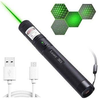 Wysokość Potężny USB Zielony Wskaźnik Laserowy Wbudowany Akumulator Celownik Z Czerwonym Laserem 10000m 5mw Regulacja Ostrości Lasery Lazer 303 Pen Burning Match