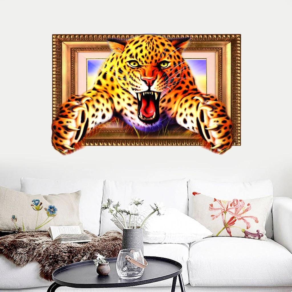 Simulation 3D Animal Leopard Sticker Wall Stickers Wallpaper Living Room Decor