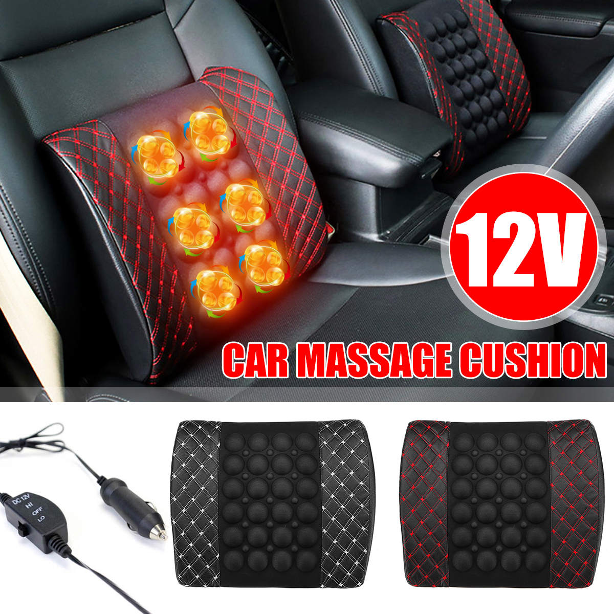 12V Car Massage Lumbar Cushion Car Electric Massage Cushion lumbar Massage Car Seat Back Cushion Waist support