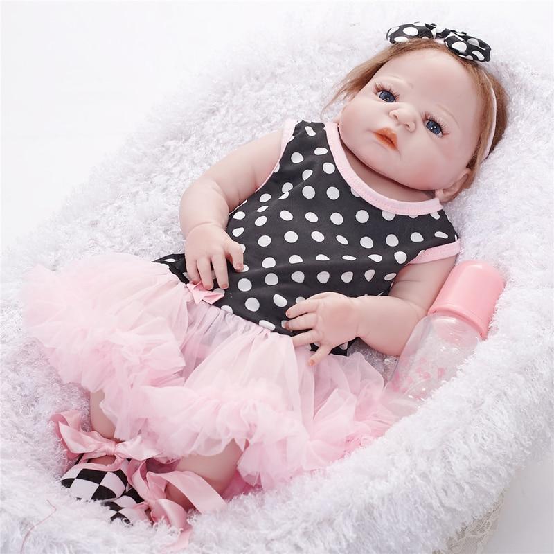 Bebes Reborn poupée 55 CM vivant réaliste bébé poupées réaliste nouveau-né bébé poupée LOL poupées accompagner poupées de mode poupées pour enfant - 4