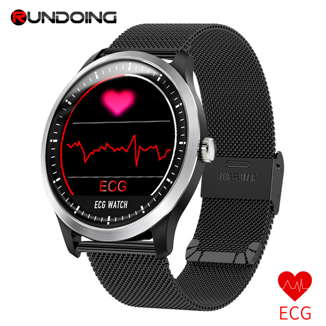 RUNDOING N58 ECG EKG PPG smart watch con ECG display PPG holter ecg heart rate monitor di pressione sanguigna smartwatch