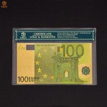 Colección de billetes chapados en oro de 24k, colección de papel moneda de lámina de oro de 100 euros con marco de COA y regalos