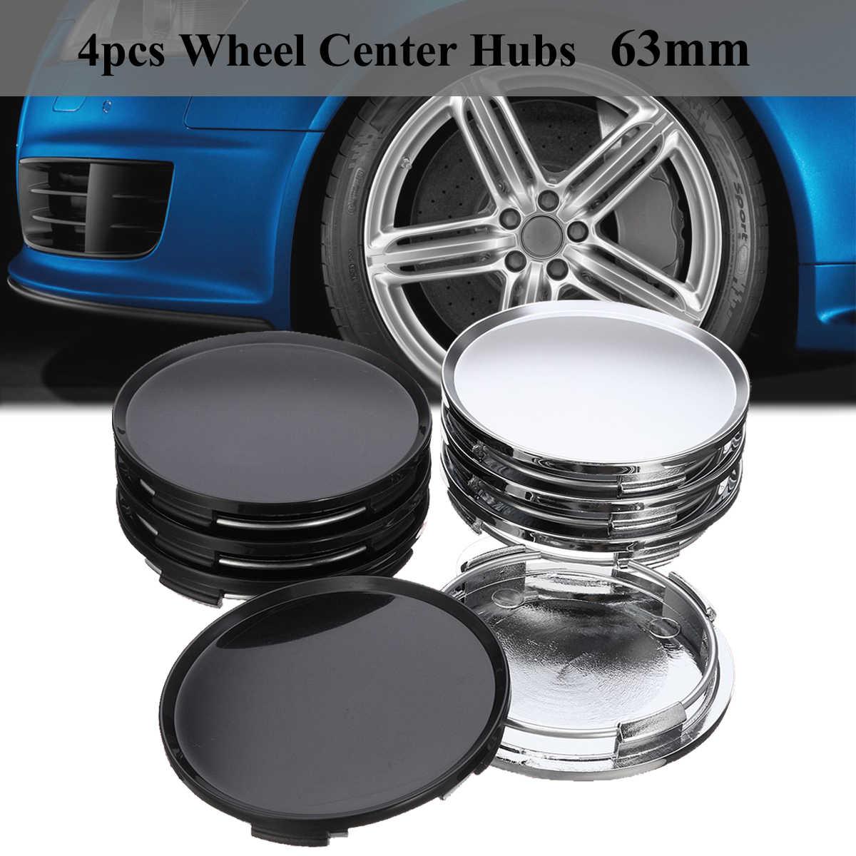 2pcs Universal 4 Lugs 63mm Dia Chrome Car Wheel Center Hub Cap Decorative Cover