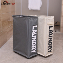 CHOICE FUN Waterproof Big Bathroom Dirty Clothing Fabric Collapsible Hamper Large Foldable Storage Laundry Basket With Wheels