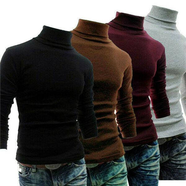 Men  Pure Color Turtleneck  Roll Turtle Neck Plain Pullover Knitted Jumper Basic Tops Sweater Shirt