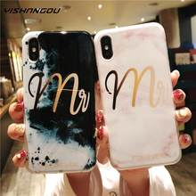 Phone Case For iPhone XR X 7 8 Plus Cases Luxury Ink Marble Thin IMD Silicon M Letter Cover sFor Coque iPhone XS Max 6 6s Fundas(China)