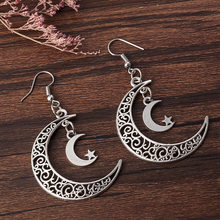 Retro alloy hollow moon crescent pendant earrings personality double crescent star earrings