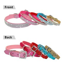 1 pc Bling Rhinestone PU Leather Collar Cat Kitty Pet Lead Cool Sharp Necklace Adjustable Tools