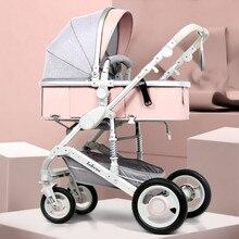Adjustable Lightweight Luxury Baby Stroller 3 in 1 Portable High Landscape Rever