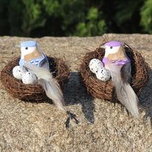 1 Juego de mesa Vintage suministros de decoraciones para fiestas accesorios para jardín ventana hecha a mano gran Nido de Pájaro redondo ratán artesanal Nido de Pájaros con arte