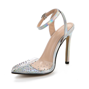 Image 2 - Kcenid Fashion rhinestone PVC transparent shoes stilettos high heels sandals women pointed toe party silver party wedding shoes
