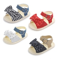 Baby Girls Bow Polka Dot Breathable Anti Slip Shoes Sandals Toddler Soft Soled Shoes First Walkers Summer