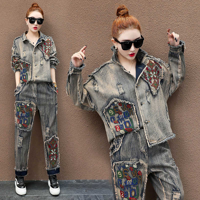 2 TWEE DELIGE SET Runway Ripped Jeans Jassen Pak Vrouwen Vintage Denim Trainingspak Borduren Bloemen Patch Stitch Outfits Harajuku