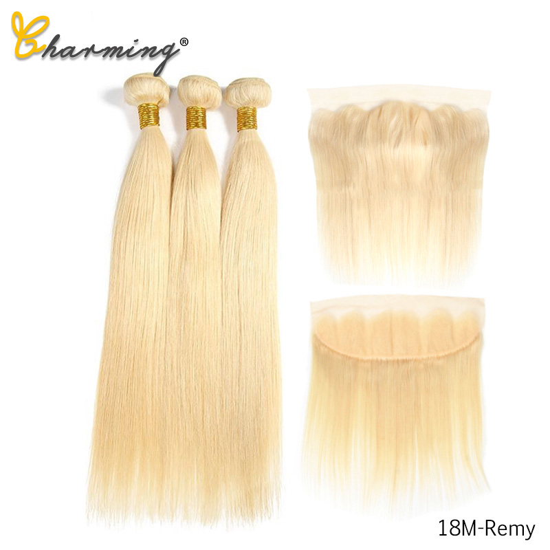 CHARMING 613 Bundles With Frontal Middle Ratio Brazilian Straight Hair 3 Bundles With Closure Remy Blonde Bundles With Frontal