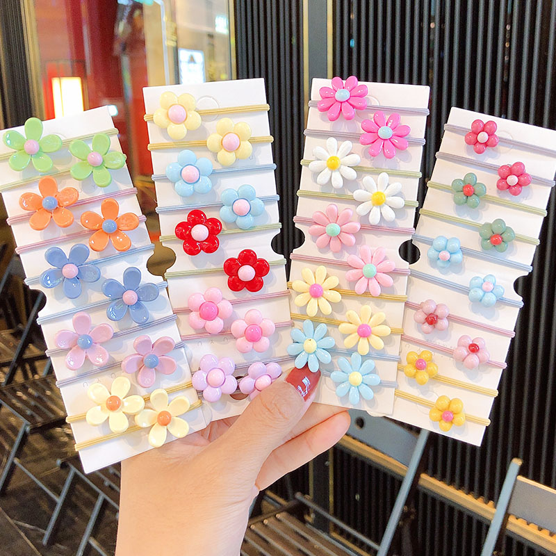 10PCS/Set New Girls Cute Colorful Flowers Elastic Hair Bands Kids Ponytail Holder Scrunchie Rubber Band Fashion Hair Accessories