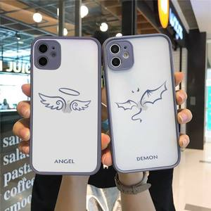 Image 3 - Friends Demon Angel Wing Couple BFF Cartoon Phone Case For iphone 12 11 7 8 plus mini x xs xr pro max matte transparent cover