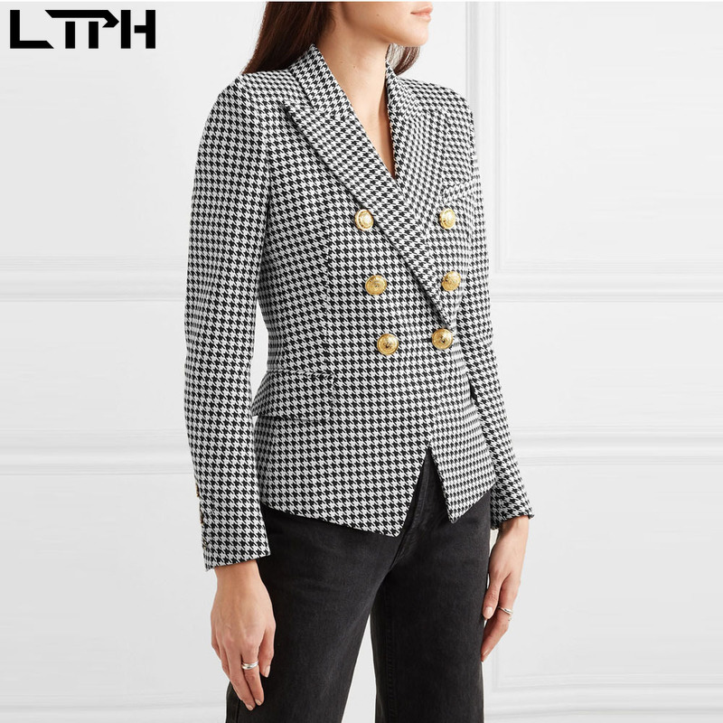 Hot Sale 2020 Spring Autumn Fashion New Women Blazers And Jackets Casual Full Sleeve Plaid Single Button Slim Plus Size Coat