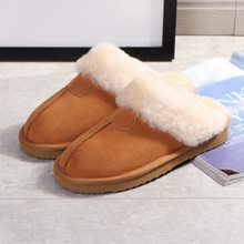 Real Fur Slippers Women Fashion Genuine Leather Female House Winter Slippers Warm Indoor Slippers Soft Wool Lady Home Shoes