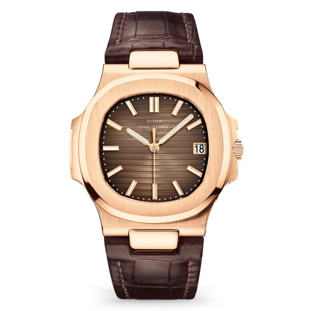 LGXIGE Unique Watch Men Luxury Gold Mens Watches Top Brand Luxury Stainless Steel Mens Fashion Blue Quartz Watch Gifts For Men