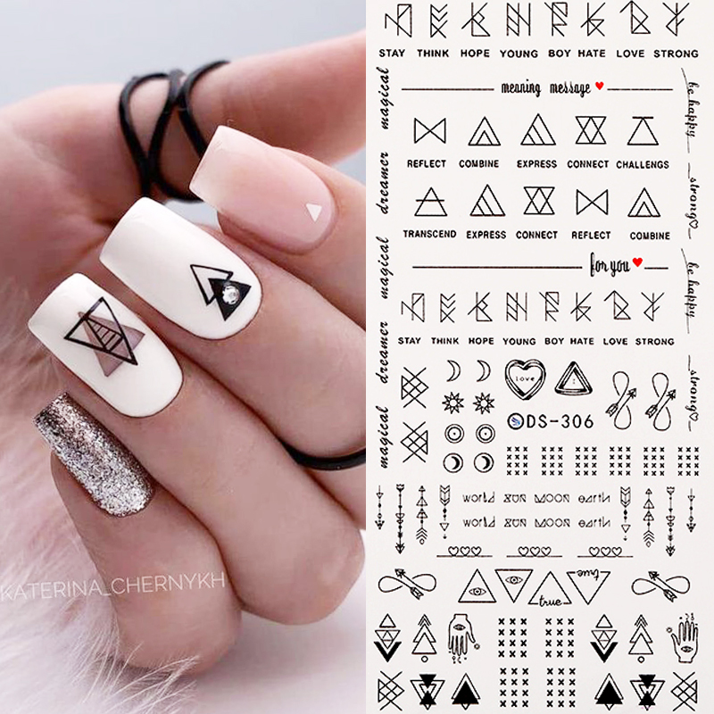 1 Sheet Nail Water Decals Geometric Figure Mixed Patterns Colorful Nail Art Transfer Stickers Nail Art DIY Decoration