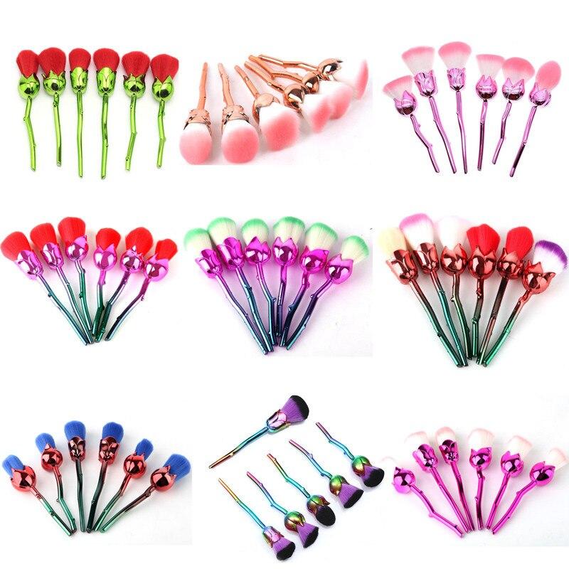 6pcs Makeup Brushes Set Multicolored Rose Flower Shape Make Up Foundation Powder Cosmetic Powder Brushes