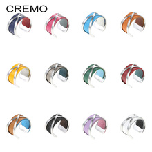 Cremo Wide Ring Stainless Steel Bijoux Silver Adjustable Fashion Open Free Size Argent Reversible Leather