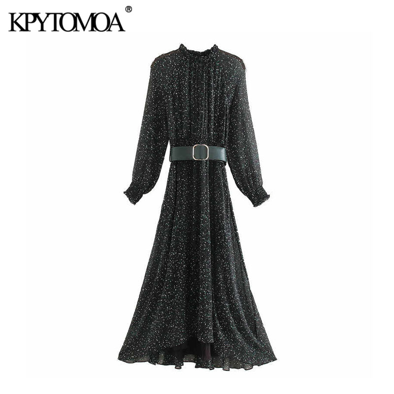 Vintage Elegant Office Wear With Belt Print Midi Dress Women 2020 Fashion Long Sleeve Elastic Waist Female Dresses Vestido Mujer