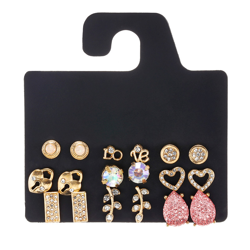 9Pairs/Set Women Stud <font><b>Earrings</b></font> Set Bohemian Jewelry Pink Resin Stone Crystal Gold <font><b>Heart</b></font> <font><b>Lock</b></font> Leaf Love Fashion <font><b>Earrings</b></font> Sets image