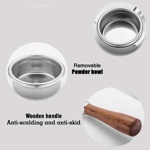 Image 2 - Porte filtre sans fond pour Machine à café en acier inoxydable 51/58MM, poignée de branche, accessoire professionnel