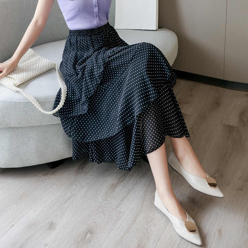 Plus rozmiar 4XL kobiety lato nowa sukienka z rybim ogonem szyfonowa Polka Dot spódnica trzy czwarte Slim Sexy Streetwear spódnica Tweed kobiet odzież